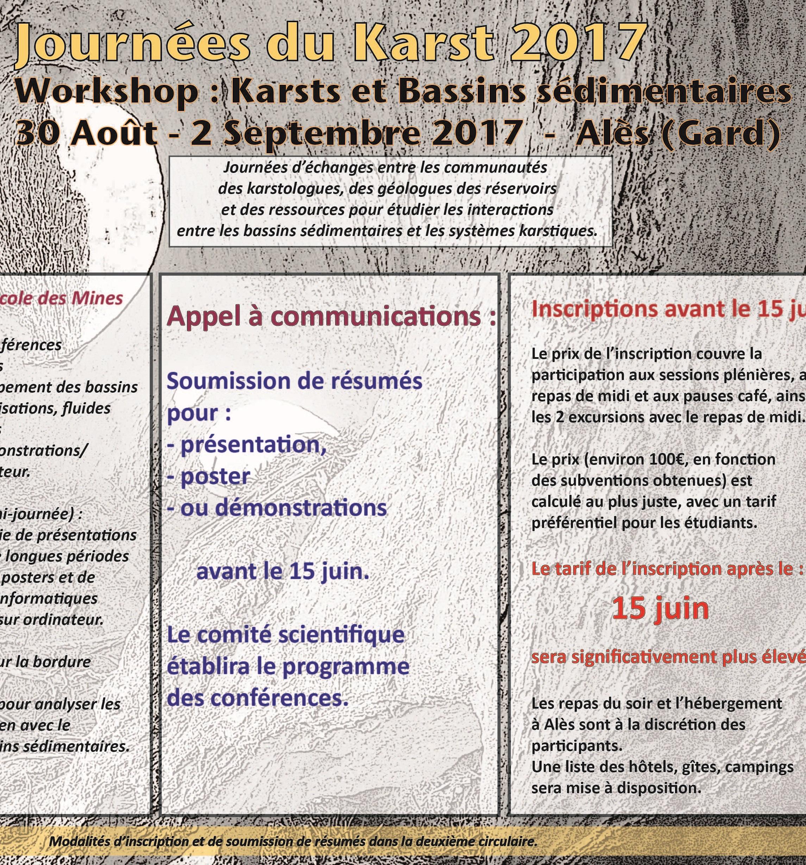 Journées du Karst 2017 - Workshop Karsts et Bassins  Sédimentaires