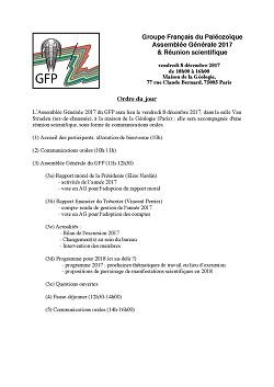 Groupe Français du Paléozoïque Assemblée Générale 2017 & Réunion scientifique