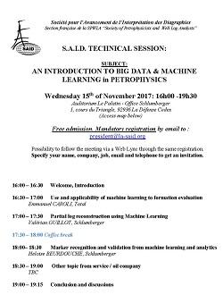 Réunion Technique de la S.A.I.D. : An introduction to big data & machine learning in petrophysics