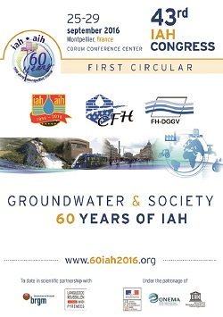 "43rd IAH International Congress ""Groundwater and society: 60 years of IAH"""