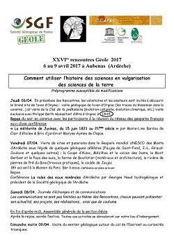 XXVIes rencontres Géole 2017