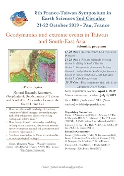 Geodynamics and Extreme Events in Taiwan and South-East Asia - 8th France-Taiwan Earth Sciences Symposium