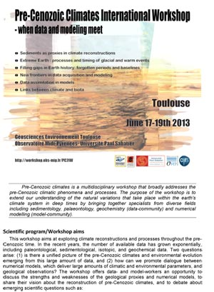 Pre Cenozoic Climates International Workshop / Toulouse